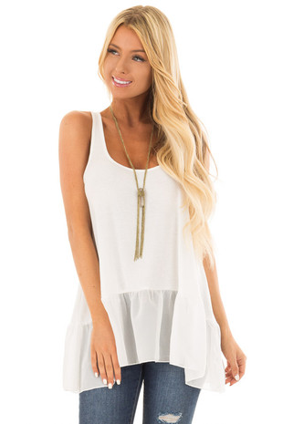 Off White Ribbed Tank Top with Chiffon Trim front close up