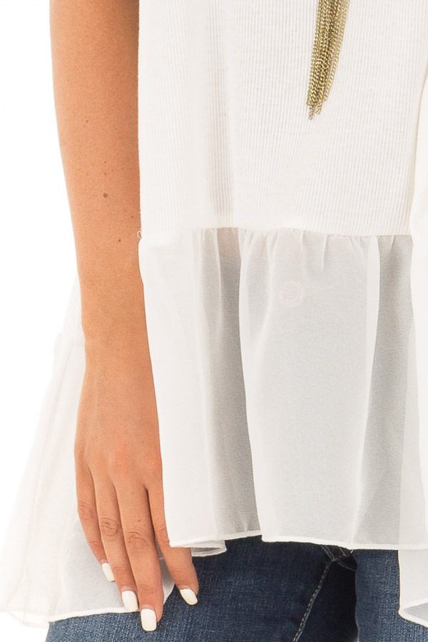 Off White Ribbed Tank Top with Chiffon Trim detail