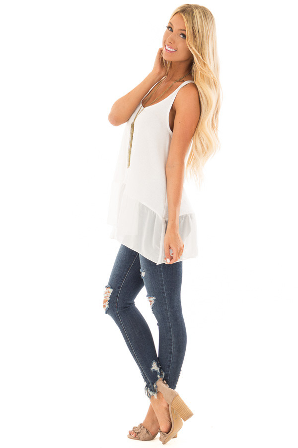 Off White Ribbed Tank Top with Chiffon Trim side full body