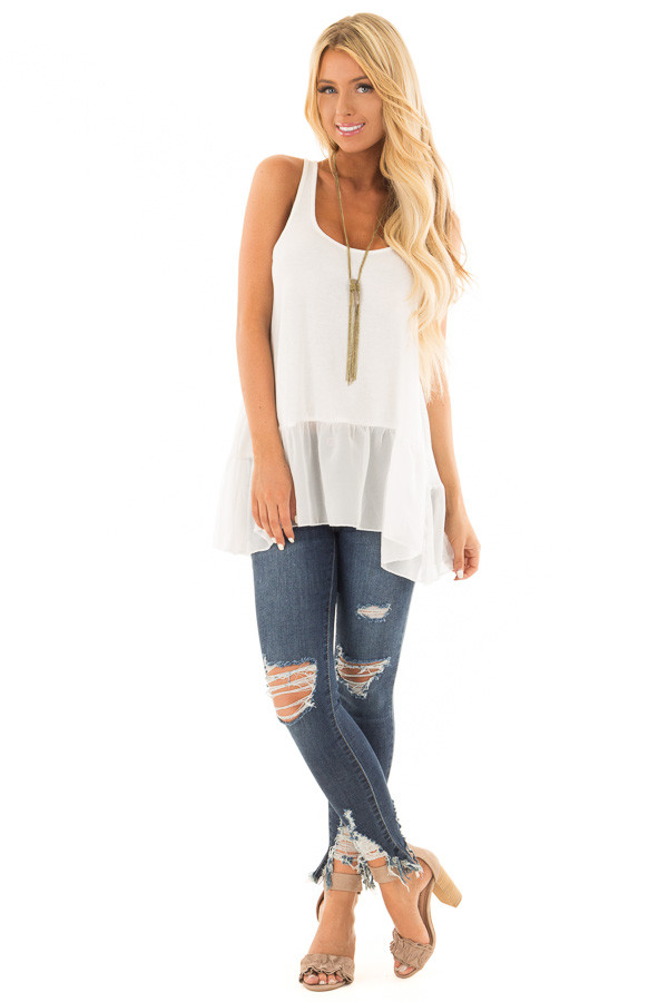 Off White Ribbed Tank Top with Chiffon Trim front full body