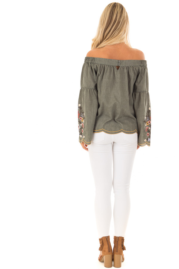 Olive Off the Shoulder Top with Floral Embroidered Sleeves back full body