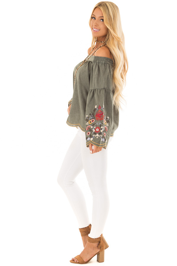 Olive Off the Shoulder Top with Floral Embroidered Sleeves side full body