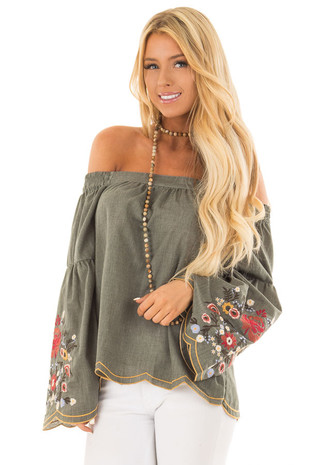 Olive Off the Shoulder Top with Floral Embroidered Sleeves front close up