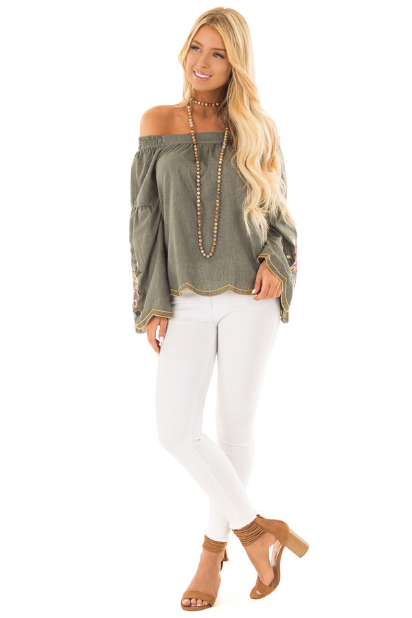 Olive Off the Shoulder Top with Floral Embroidered Sleeves front full body