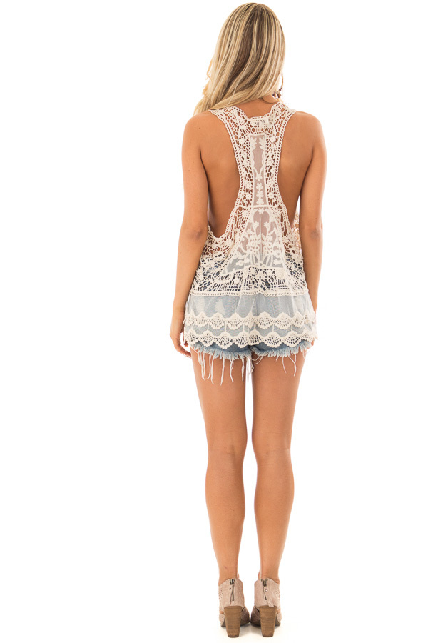 Cream Detailed Sheer Lace Flowy Tank Top back full body