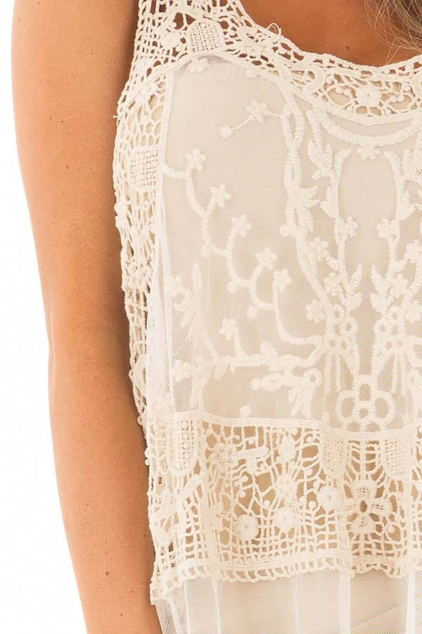 Cream Detailed Sheer Lace Flowy Tank Top detail