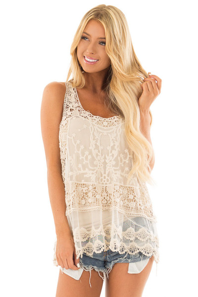 Cream Detailed Sheer Lace Flowy Tank Top front close up