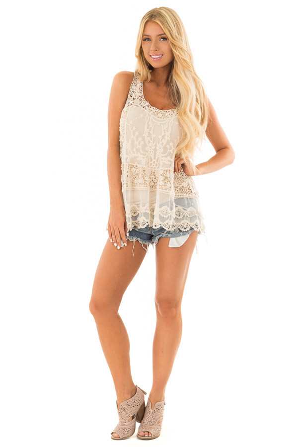 Cream Detailed Sheer Lace Flowy Tank Top front full body