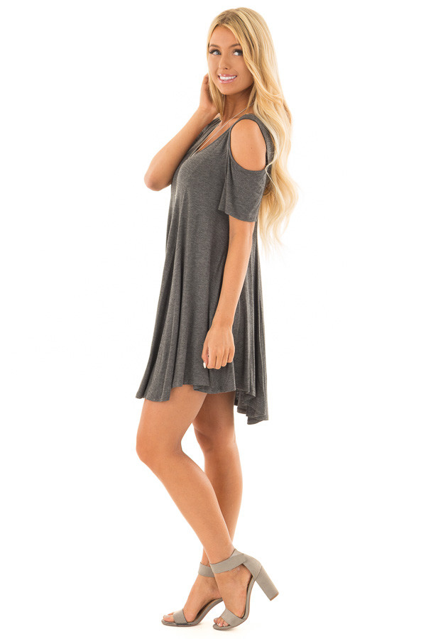 Charcoal Cold Shoulder Full Swing Tunic Top side full body