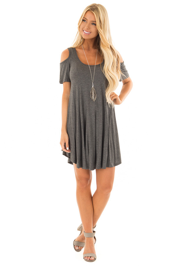 Charcoal Cold Shoulder Full Swing Tunic Top front full body