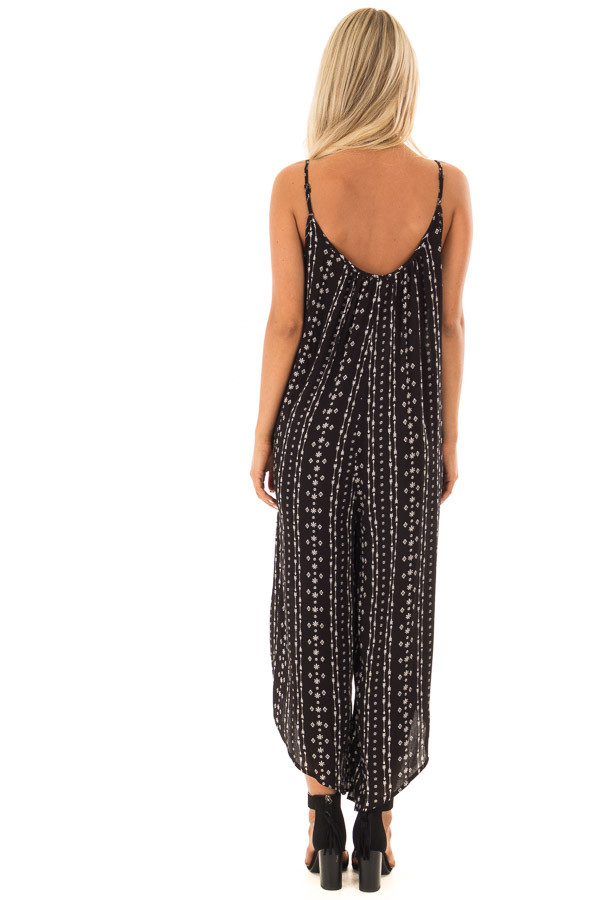 Black Oversized Arrow Print Jumpsuit with Side Pockets back full body