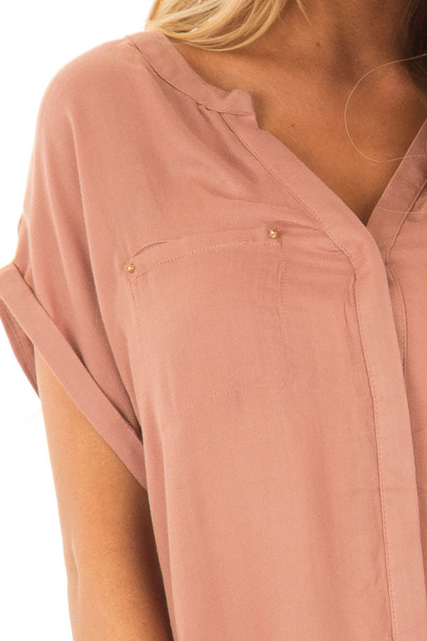 Rust Tunic with Short Cuffed Dolman Sleeves detail