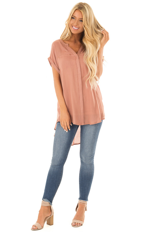 Rust Tunic with Short Cuffed Dolman Sleeves front full body
