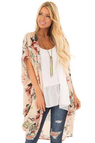 Latte Floral Kimono with Cocoon Hem and Gathered Shoulders front close up