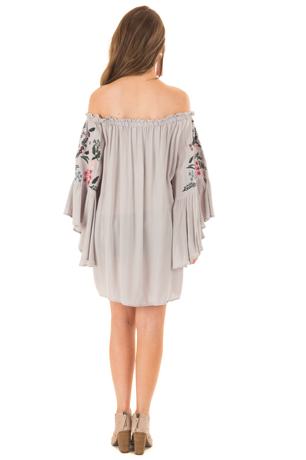 Cool Grey Off Shoulder Dress with Floral Embroidery back full body