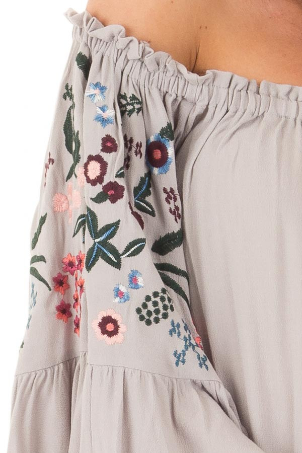 Cool Grey Off Shoulder Dress with Floral Embroidery detail