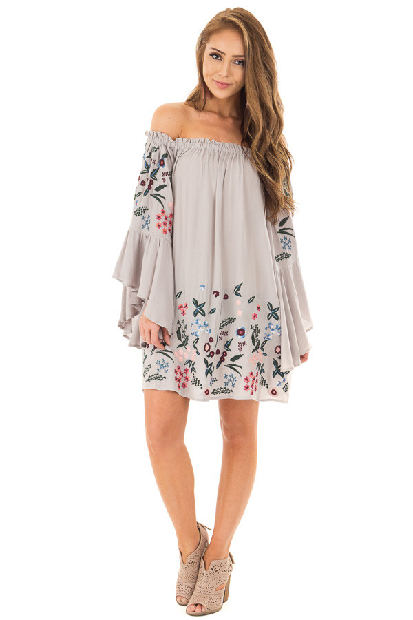 Cool Grey Off Shoulder Dress with Floral Embroidery front full body