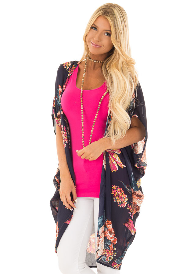 Navy Floral Kimono with Cocoon Hem and Gathered Shoulders front close up