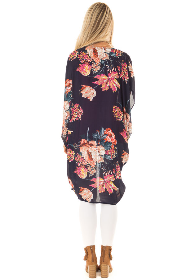 Navy Floral Kimono with Cocoon Hem and Gathered Shoulders back full body