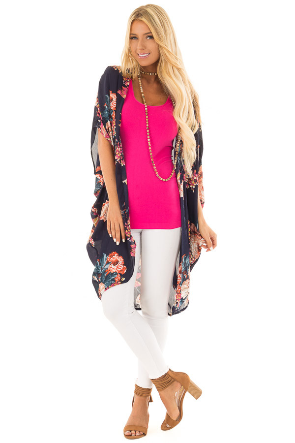 Navy Floral Kimono with Cocoon Hem and Gathered Shoulders front full body