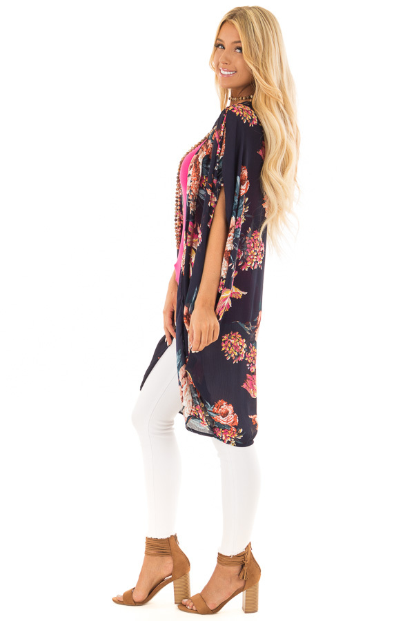 Navy Floral Kimono with Cocoon Hem and Gathered Shoulders side full body