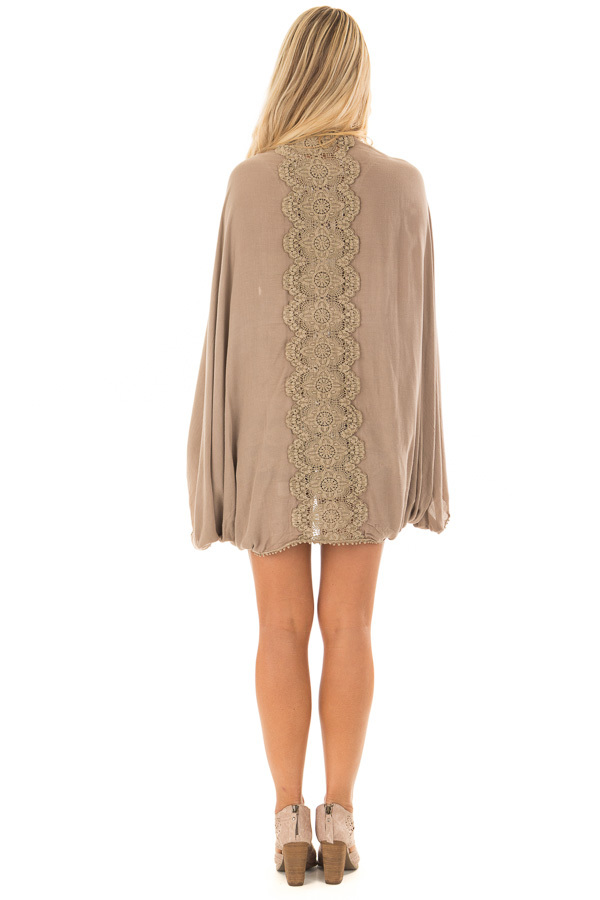 Cocoa Kimono with Sheer Lace Back Detail back full body