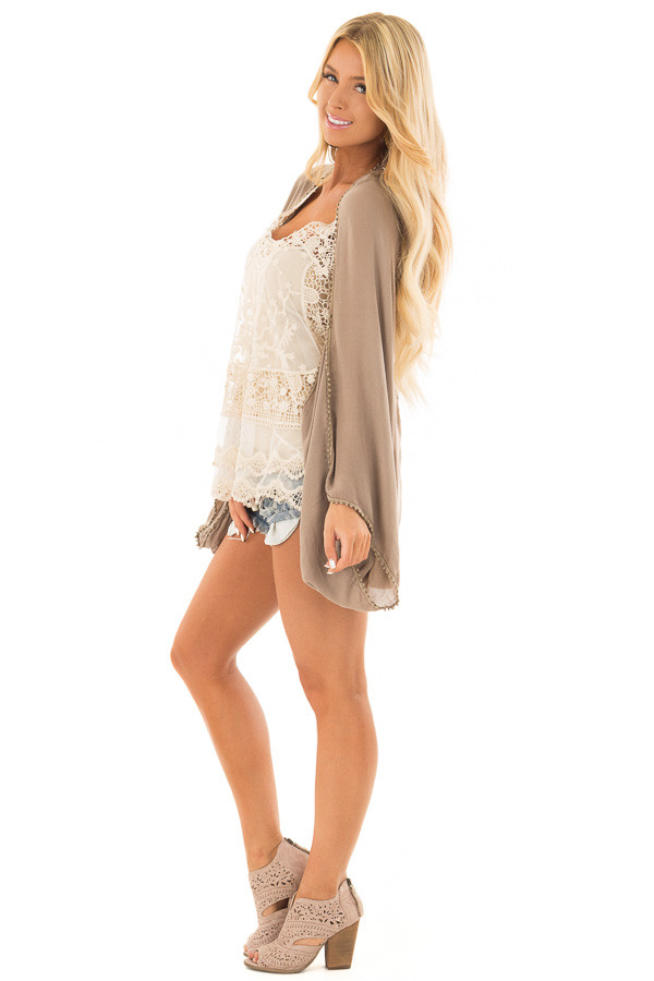 Cocoa Kimono with Sheer Lace Back Detail side full body