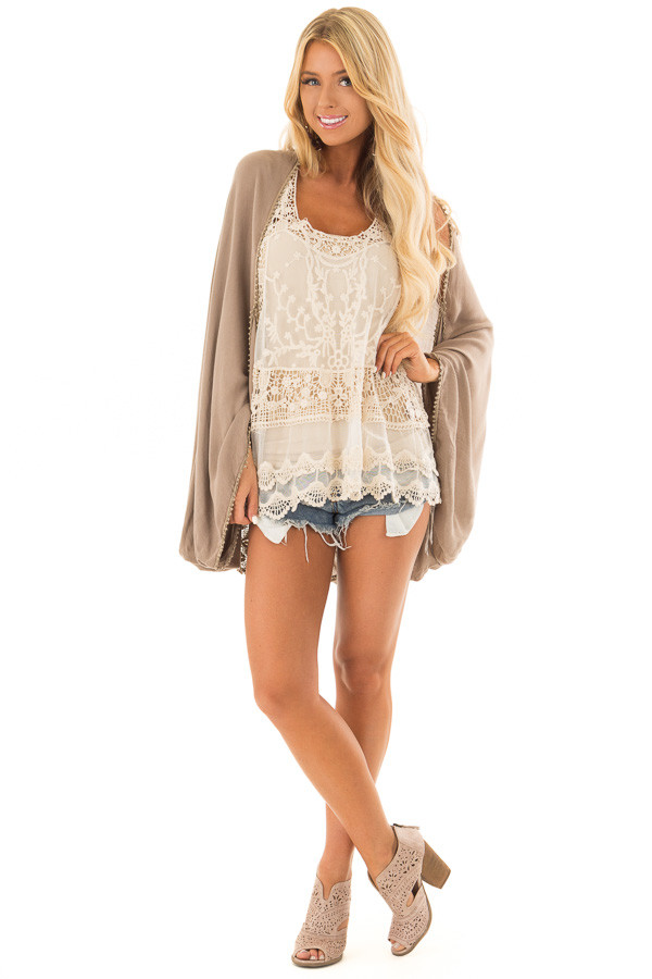 Cocoa Kimono with Sheer Lace Back Detail front full body