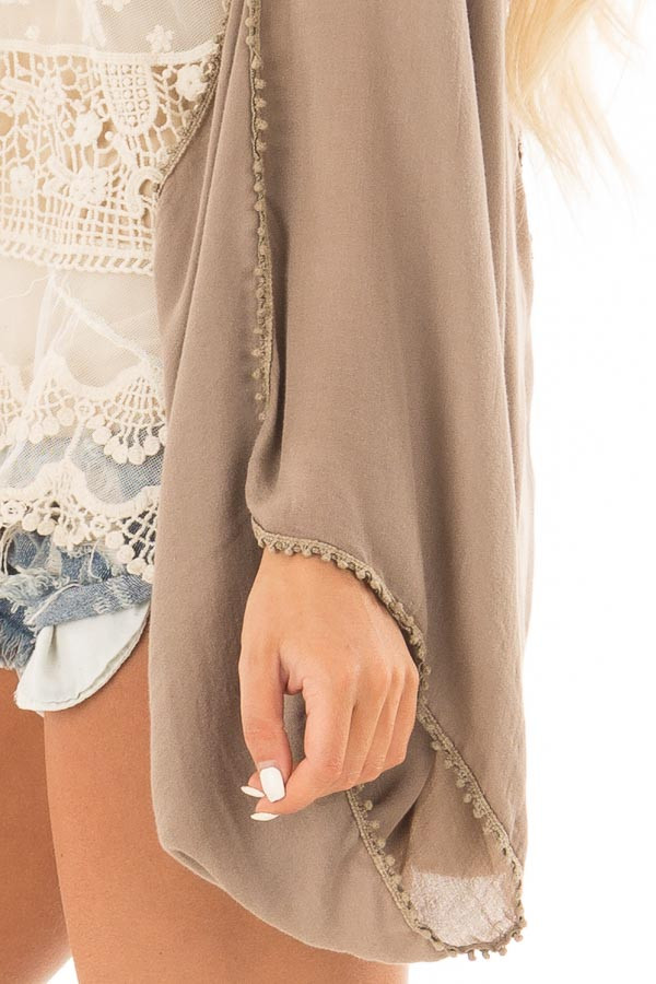 Cocoa Kimono with Sheer Lace Back Detail detail