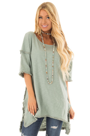 Seafoam High Low Tunic Top with Frayed Detail front close up