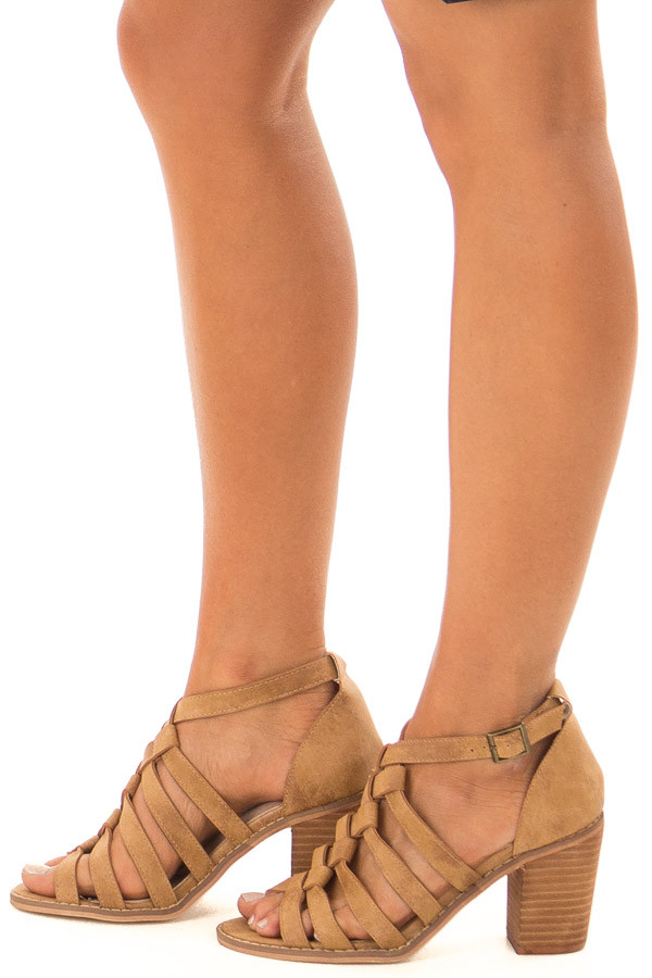 Light Brown Faux Leather Braided Open Toe Heels side view