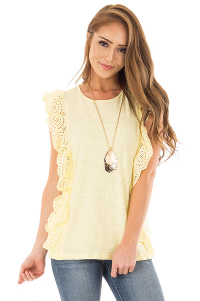 Lemon Yellow Short Sleeve Top with Ruffle Crochet Detail front close up