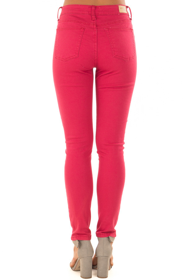 Crimson Mid Rise Skinny Ankle Jeans back view