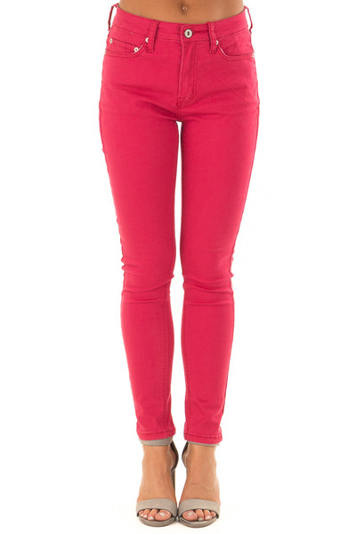 Crimson Mid Rise Skinny Ankle Jeans front view