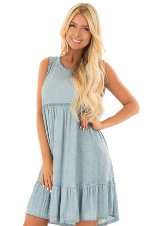 Ocean Blue Washed Dress with Lace Detail and Crisscross Back front close up