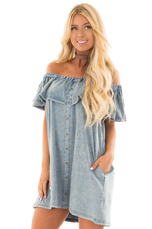 Light Denim Mineral Wash Off the Shoulder Dress with Pockets front close up