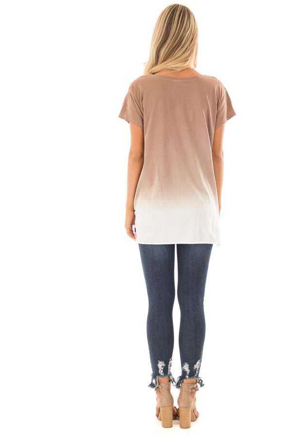 Latte Ombre Tee Shirt with Front Knot Detail back full body