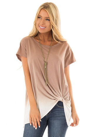 Latte Ombre Tee Shirt with Front Knot Detail front full body