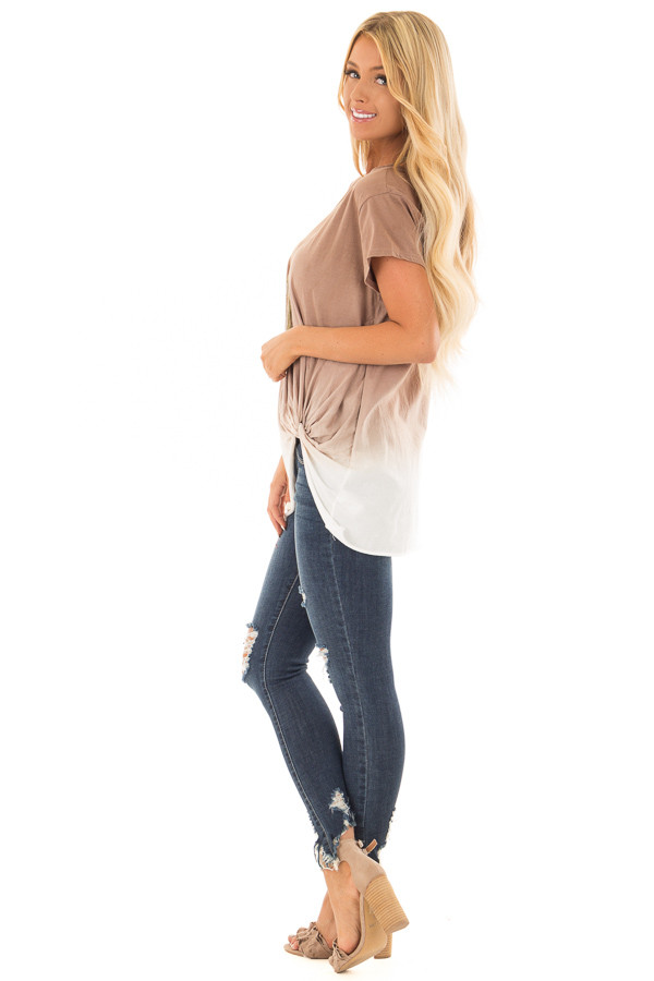 Latte Ombre Tee Shirt with Front Knot Detail side full body