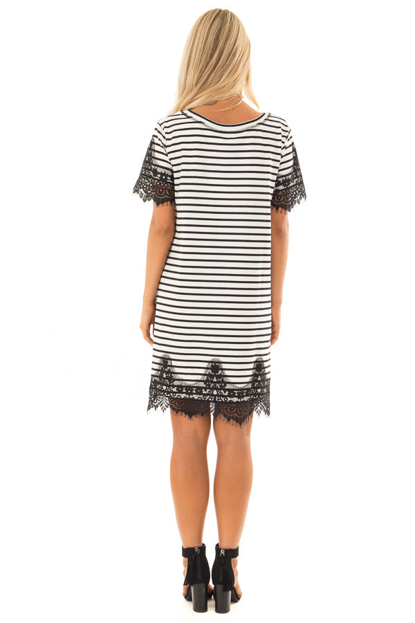 Black and White Striped Dress with Black Lace Contrast back full body