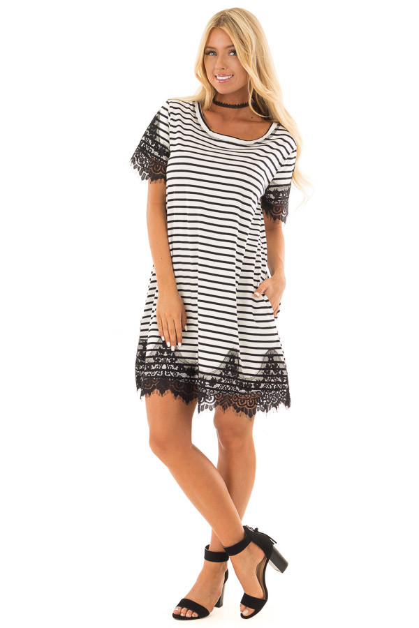 Black and White Striped Dress with Black Lace Contrast front full body