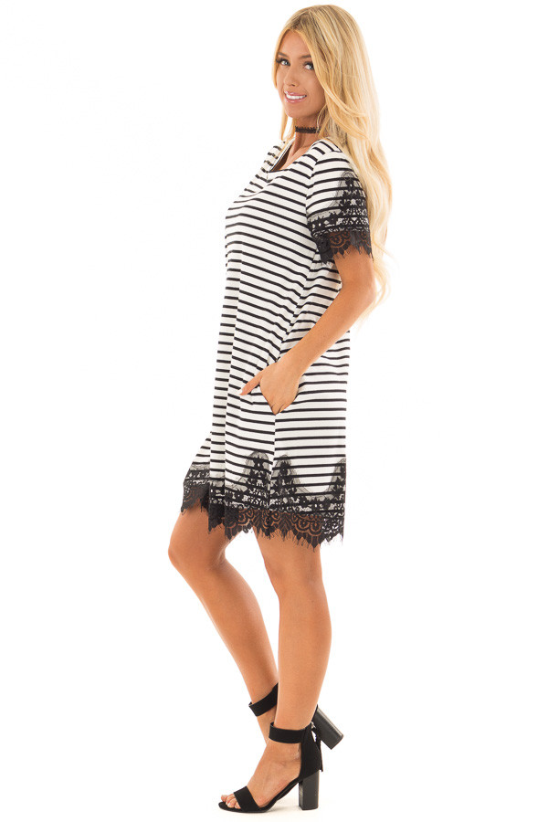 Black and White Striped Dress with Black Lace Contrast side full body