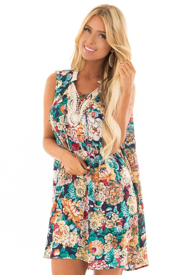 Navy Floral Sleeveless Dress with Crochet Detail front close up