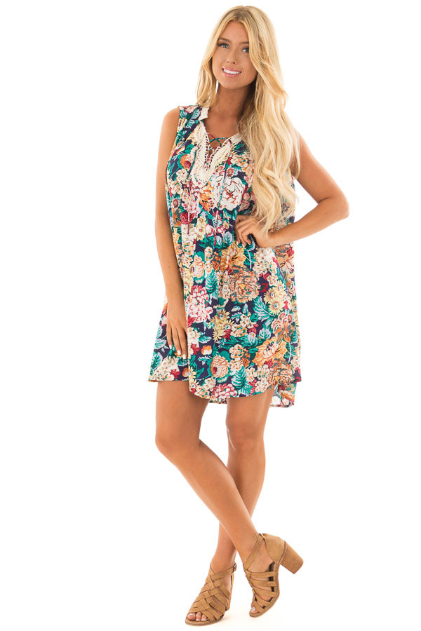 Navy Floral Sleeveless Dress with Crochet Detail front full body