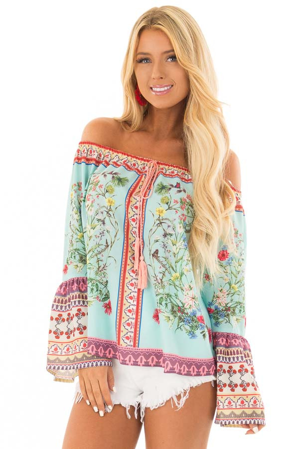 Mint Floral Off the Shoulder Top with Bell Sleeves front close up