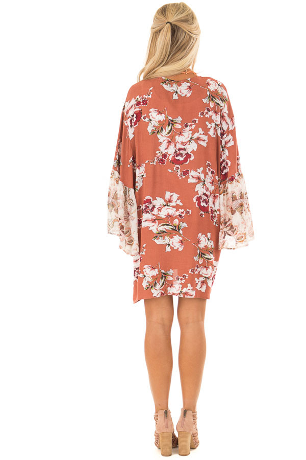Rust Large Floral Print Open Kimono back full body