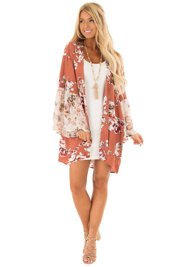 Rust Large Floral Print Open Kimono front full body