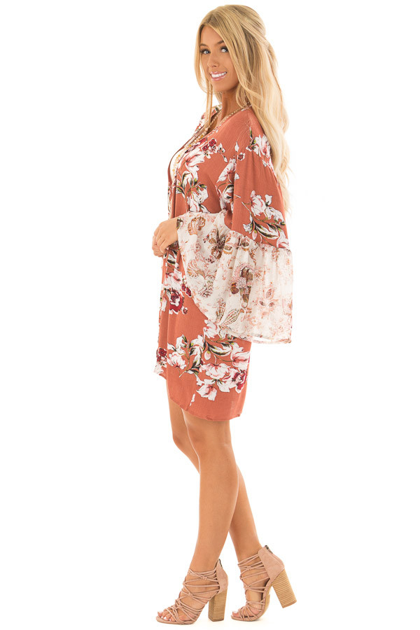 Rust Large Floral Print Open Kimono side full body