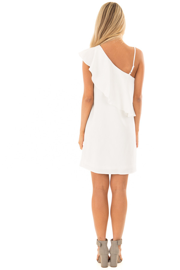 Off White One Shoulder Dress with Ruffle Detail back full body