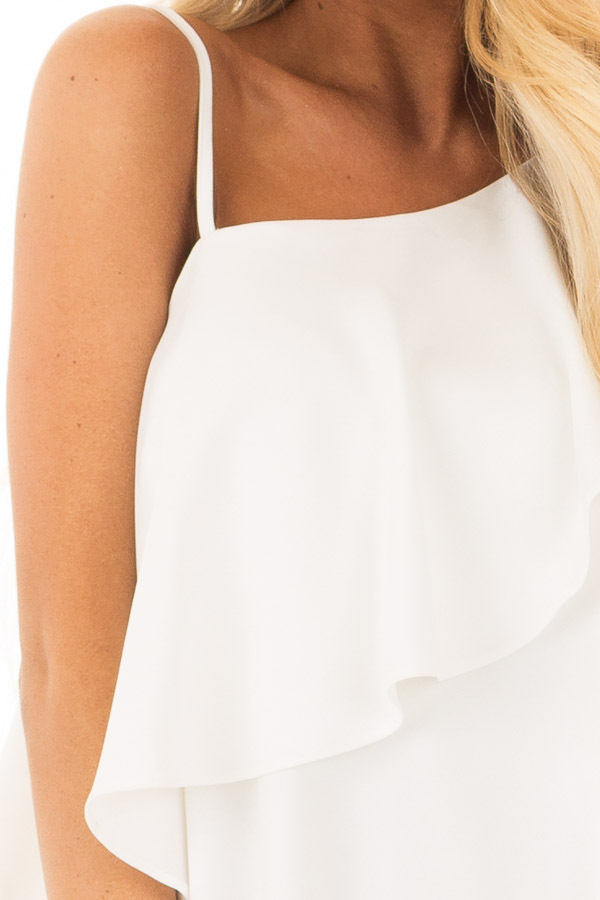 Off White One Shoulder Dress with Ruffle Detail detail
